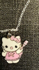 hello kitty Pink Playing W/ Violin charm pendant necklace