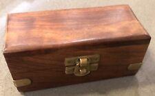 Wooden Box with Hinged Lid, Brass Toned Hardware, Keepsake Trinket Momento Box