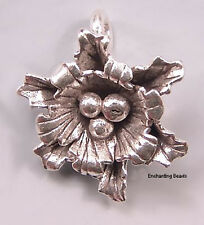 Karen Hill Tribe Silver Flower Leaf Pendant Drop T321 (1) 21mm