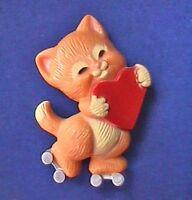 Hallmark PIN Valentines Vintage CAT ROLLER SKATING Red HEART Holiday Brooch