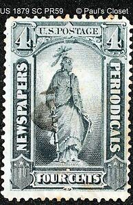 US 1879 SC PR59 BLACK 4¢ NEWSPAPER STAMP UNG SEE PHOTOS BELOW