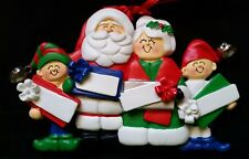 Personalized Mr & Mrs Santa Claus two Elf 4 Packages Family Christmas Ornament