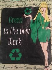 """Reusable Grocery Shopping Bag Green Is The New Black Theme NWT Lot Of 2 15""""X13"""