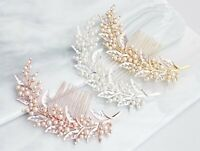 Women Wedding Rose Gold Color Bride Leaf Crystal Pearl Hair Comb head piece Pin