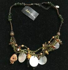 NWT Cookie Lee Necklace Genuine Shell Beads Round Green Beads Hippie Graduation