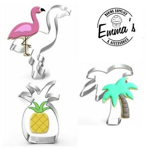 Set of 3 Tropical Cookie Cutters Stainless Steel Pineapple Flamingo Palm Tree