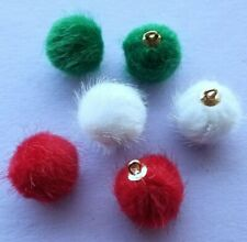 HOLIDAY FUR BALLS Christmas Mini Furry Baubles Novelty Dress It Up Craft Charms