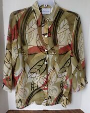 Alfred Dunner 3/4 sleeve button front shirt-semi sheer-multi colored-Size 10