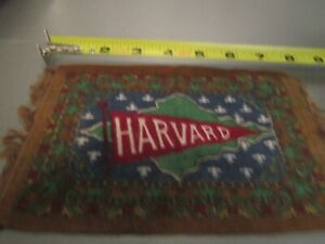 VINTAGE HARVARD LIKE TAPESTRY STYLE LOOK BANNER / DOLL HOUSE RUG