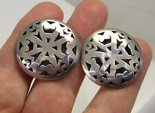 Sterling Silver Taxco Pierced Earrings Estate Vintage Large Shadow Box Dome