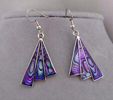 Alpaca Silver Purple Abalone Shell Fan Earrings Fashion Jewelry NEW