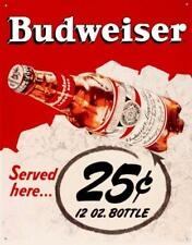 Budweiser 25 Cents Retro Tin Sign 13 x 16in