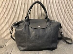 Authentic LONGCHAMP MODELE DEPOSE Gray Leather Tote Shoulder Bag