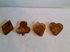 Davidson Amber Cloud Glass Diamond Spade Heart Club Ashtray Salts