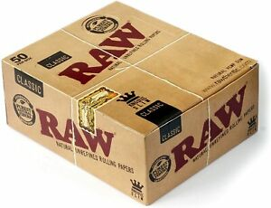 12 x RAW Classic Natural Unrefined Rizla Rolling Papers Slim 110mm King Size NEW