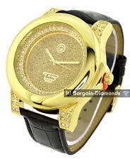 men's big heavy gold tone bling dial business clubbing watch black strap