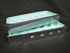 1950's Aqua/Turquoise Chrome and Green Refrigerator Egg Shelves 2 Dozen Retro