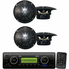 Pyle IN-Dash Marine MP3 Player/Weatherband/USB&SD+ 4'' Dual Cone Stereo Speakers