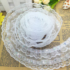 2016~Hot 5 Yard 4-layer White Pleated Trim Mesh Lace Sewing Sequin Gathered US02