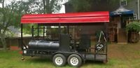 2010 - 7' x 16' Open Covered BBQ Pit Smoker Trailer / Tailgating and BBQ Rig for