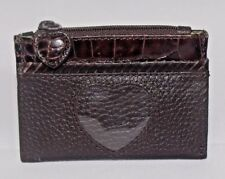 """BRIGHTON Brown Pebbled Leather Small ID Holder Wallet  4"""" x 3"""""""