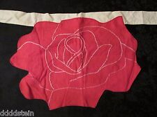 Vintage Child Apron - Rose - Retro - Half Apron - Red Linen - Embroidered - 10""