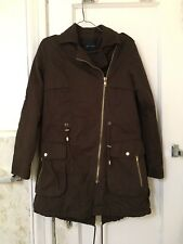 ZARA Long Parka Coat Trench Dark Khaki MILITARY BLOGGERS Wool Neck Size XS NWT