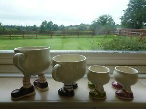 LOT of 4 VINTAGE 70s - 80s CARLTON WALKING WARE LUSTRE EGG CUPS & CUPS