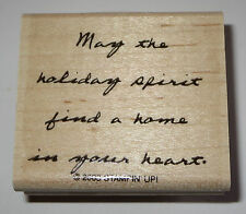 May The Holiday Spirit Find A Home In Your Heart Rubber Stamp Stampin' Up! Mtd
