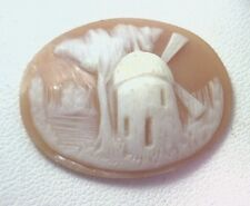 NOS Antique Hand Carved Oval Shell CAMEO Stone Windmill & Tree Scene #N452