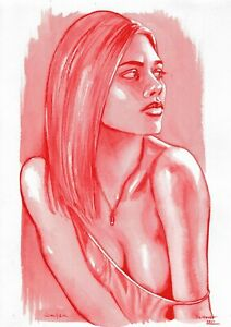 original painting A4 446ShA art samovar watercolor grisaille female half naked