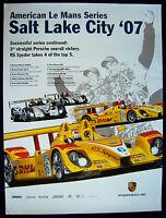 PORSCHE RS SPYDER AMERICAN LE MANS SERIES ALMS SALT LAKE RACECAR POSTER 2007