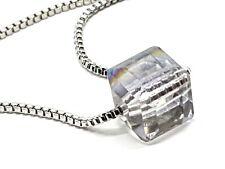 Women Fashion 925 Sterling Silver Austrian Crystal Aurora Cube Pendant Necklace