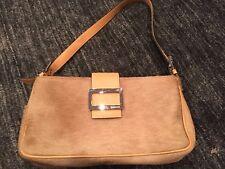 Barbara Milano brand tan pony hair shoulder bag~snap closure~Leather accents