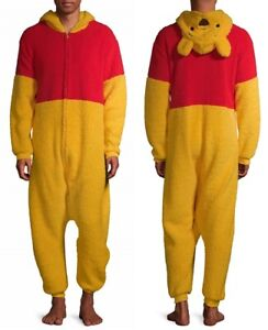 Winnie the Pooh Bear Mens Union suit Size Medium Costume Pajamas Halloween NEW