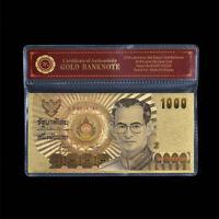 WR Thailand 1000 Baht Color Gold Banknote Queen's 60th Birthday Souvenir Bill
