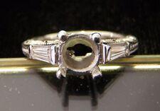 NEW Tacori 3 Stone Platinum.32 Carat Baguette Diamond Semi Mount Engagement Ring