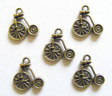 10 Antique Bronze Colour Penny Farthing Bicycle Charms/Pendants  - 17mm