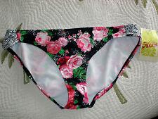 Hobie Size XL Black Floral Swimsuit Bikini Bottom New Womens Swimwear