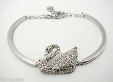 SWAN CRYSTAL BANGLE RHODIUM PLATING 2014 ADJUSTABLE SWAROVSKI JEWELRY  5011990