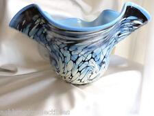 Fenton Art Glass Limited Edition Ed Frank Workman Blue Black Bowl MIB 81911Q