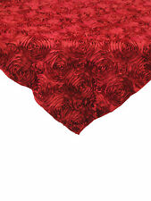 "10 Red 54""x54"" Rosette Rose Satin Table Overlays 3D Tablecloths Event Wedding"