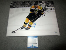 PATRICE BERGERON Boston Bruins SIGNED Autographed 11x14 Stretched CANVAS BAS COA