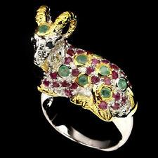 Natural Emerald Rhodolite Garnet Sapphire 925 Sterling Silver GOAT Ring S8.0 BIG