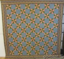 PRE CIVIL WAR c 1830/40s Pinwheel Antique QUILT Chintz Brilliant BLUES