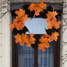 Halloween Maple Leaf Wreath Shop Window Front Door Decorative Garland JJ
