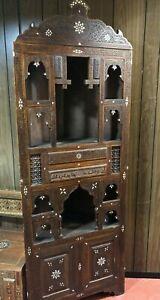 Antique Islamic Syrian Corner Cabinet handmade vintage craved
