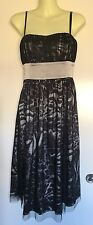 MEI MEI Size 8 Silver & Black Animal Print Strappy Dress with Ruched Bodice NWOT