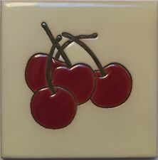 Mexican Tile Malibu Fruit Santa Barbara Tiles Cuerda Seca Cherries F-06