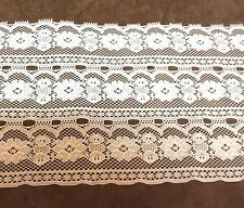 White  Wide  Lace with 3 Rows of Floral  6 1/2 inches  1 yard